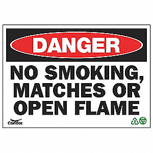SIGN DANGER NO SMOKE 10X14 PL