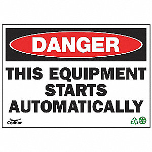 SIGN DANGER EQUIPMENT 10X14 PL