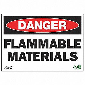 SIGN DANGER FLAM MATERIAL 10X14 SA