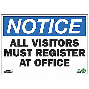 SIGN NOTICE VISITORS 10X14 SA