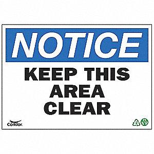 SIGN NOTICE AREA CLEAR 10X14 PL
