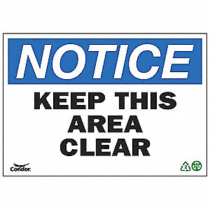 SIGN NOTICE AREA CLEAR 10X14 SA