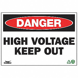 SIGN DANGER HIGH VOLT 10X14 PL