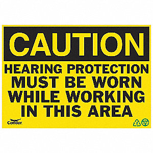 SIGN CAUTION HEARING 10X14 PL