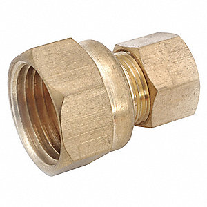 "Female Coupling, 1/2"" Tube Size, 3/4"" Pipe Size - Pipe Fitting, Metal"
