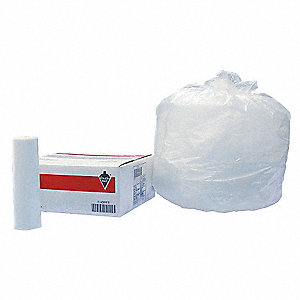 16 gal. Light Trash Bags, Clear, Coreless Roll of 1000