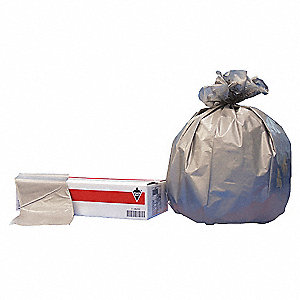 33 gal. Extra Heavy Trash Bags, Silver, Flat Pack of 100