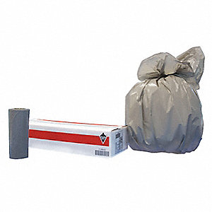 56 gal. Extra Heavy Trash Bags, Gray, Coreless Roll of 100