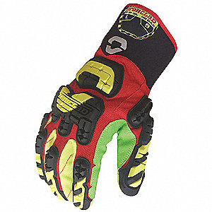 Impact Gloves, Corded Cotton Palm Material, Red, L, PR 1