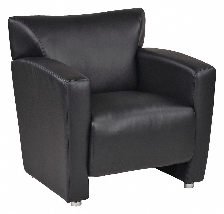 Excellent Office Star Reception Chair Faux Leather Black 46Mv03 Machost Co Dining Chair Design Ideas Machostcouk