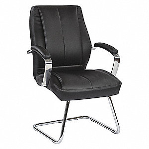 "Black Eco Leather Desk Chair 22-3/4"" Back Height, Arm Style: Fixed"