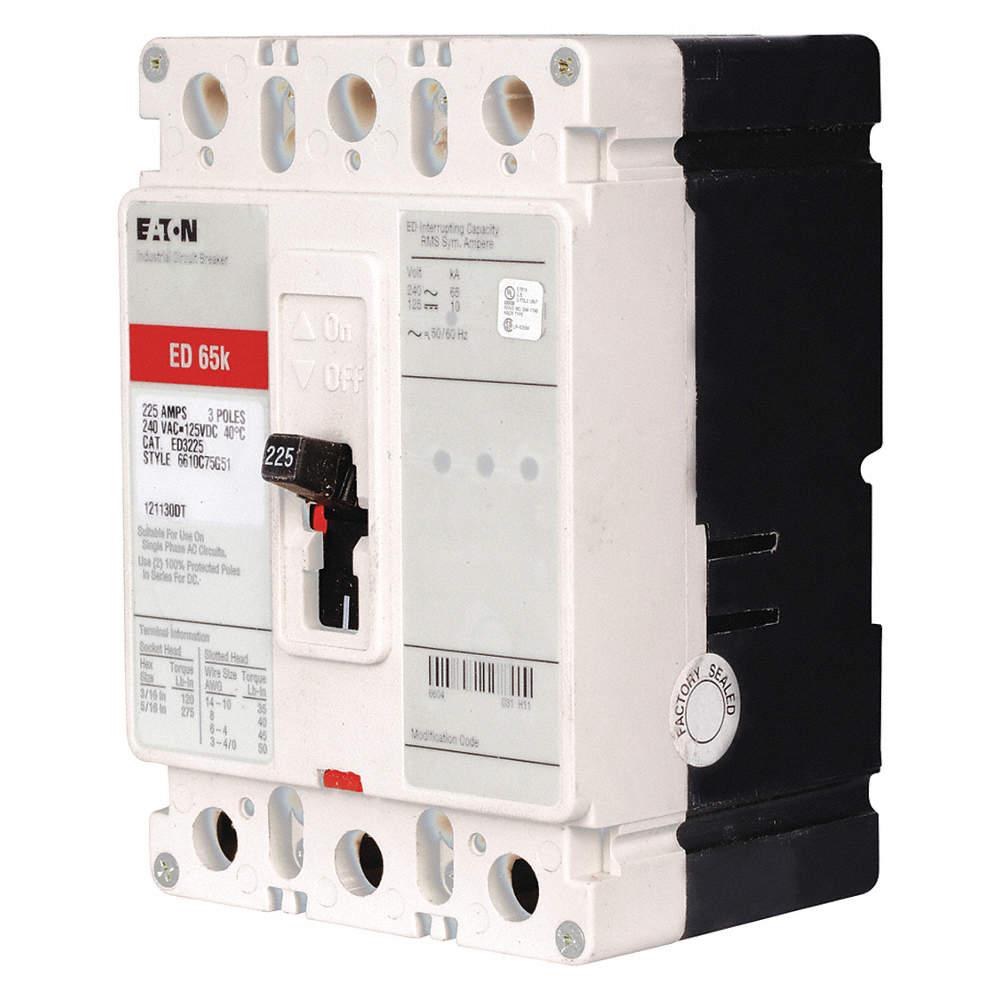 EATON Circuit Breaker, 225 Amps, Number of Poles: 3, 240VAC AC ...