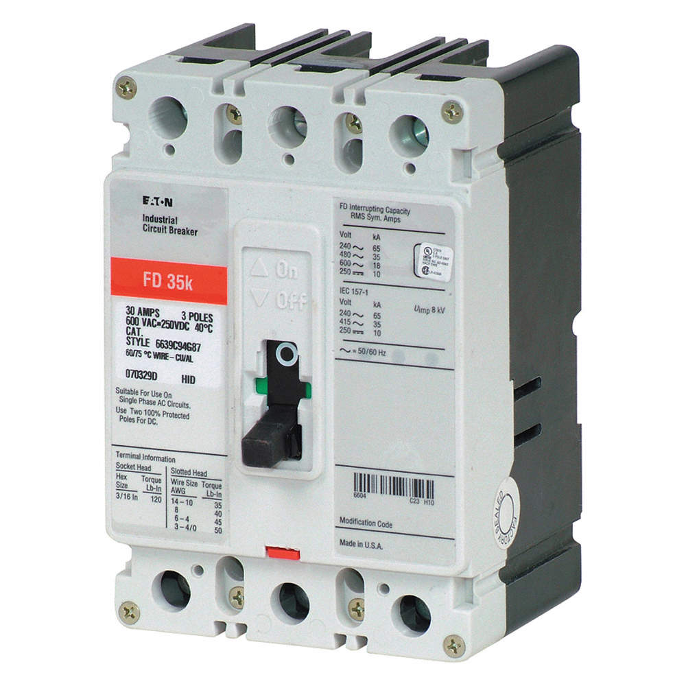 EATON Circuit Breaker, 30 Amps, Number of Poles: 3, 600VAC AC ...