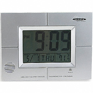 LCD TABLE CLOCK,SILVER
