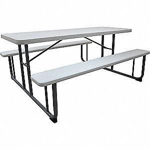 PICNIC TABLE, WHITE, 6FT