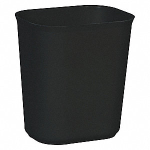 "3-1/2 gal. Rectangular Open Top Decorative Fire-Resistant Wastebasket, 12-1/4""H, Black"
