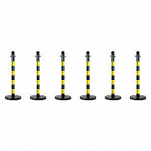 STANCHION M D BLACK/YELLOW 6 PACK