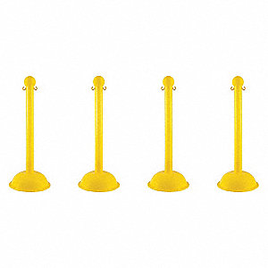 STANCHION HEAVY DUTY YELLOW 4 PACK