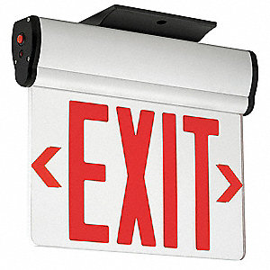2 Face LED Exit Sign, Gray Aluminum Housing, Red Letter Color