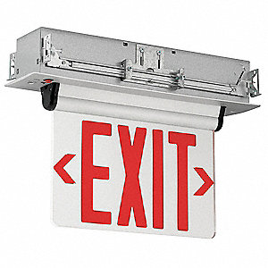 Exit Sign,3.7W,LED,Red/Silver,Recessed