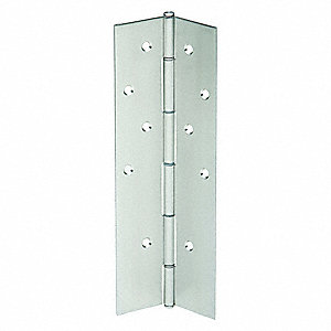 "180° Continuous Hinge With Holes, Stainless Steel, Door Leaf: 83-1/25"" x 2-1/4"" W"