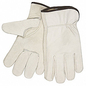 Cowhide Leather Driver's Gloves with Shirred Cuff, Cream, L
