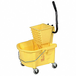 Yellow Plastic Mop Bucket and Wringer, 6-1/2 gal.
