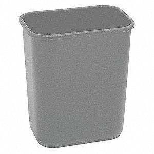 7 gal. Rectangular Gray Open-Top Trash Can