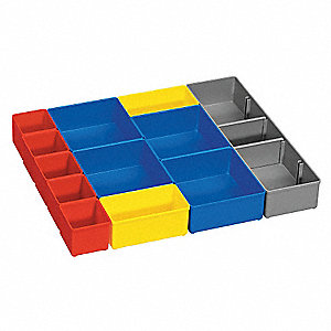 "Red/Yellow/Blue/Gray Storage Box Bin Cups, Plastic, 14-1/2"" Length, 11"" Width"