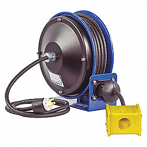 Cord Reel,30 ft,12/3,SJO,Blue,120VAC