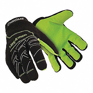 Cut Resistant Gloves, ANSI/ISEA Cut Level 5 Lining, Black, High Visibility Yellow, XL, PR 1