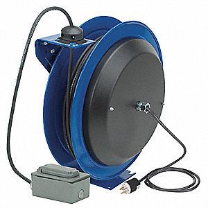 120VAC Heavy Industrial Retractable Cord Reel&#x3b; Number of Outlets: 2, Cord Included: Yes