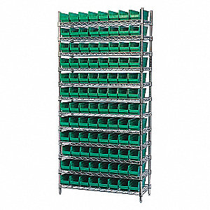 WIRE SHELVING W/(96) GREEN BIST