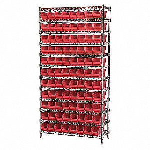 WIRE SHELVING W/(96)RED BIST