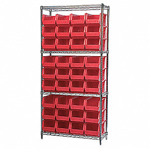 WIRE SHELVING WITH (36) RED BIST