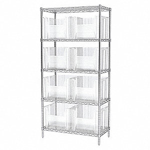 WIRE SHELVING W/(12) 13018 CLR BINS