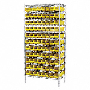 WIRE SHELVING W/(96) YELLOW BIST
