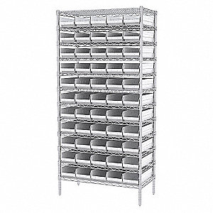 WIRE SHELVING W/(60) WHITE BIST