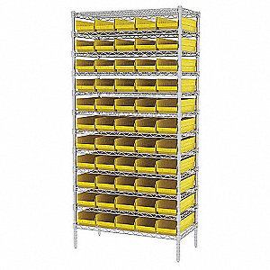 WIRE SHELVING W/(60) YELLOW BIST
