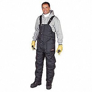 "Men's Insulated Bib Overalls, Lining Material: Nylon, Inseam: 30-1/2"", Fits Waist Size: 52 to 54"", N"