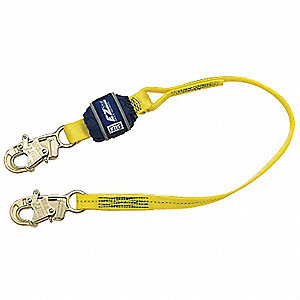 Tie Back Shock-Absorbing Lanyard, Number of Legs: 1, Working Length: 4 ft., Harness Hook Type: Snap