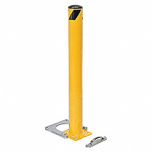 "42"" Removable Steel Bollard with 4-1/2"" Outside Dia., Yellow"