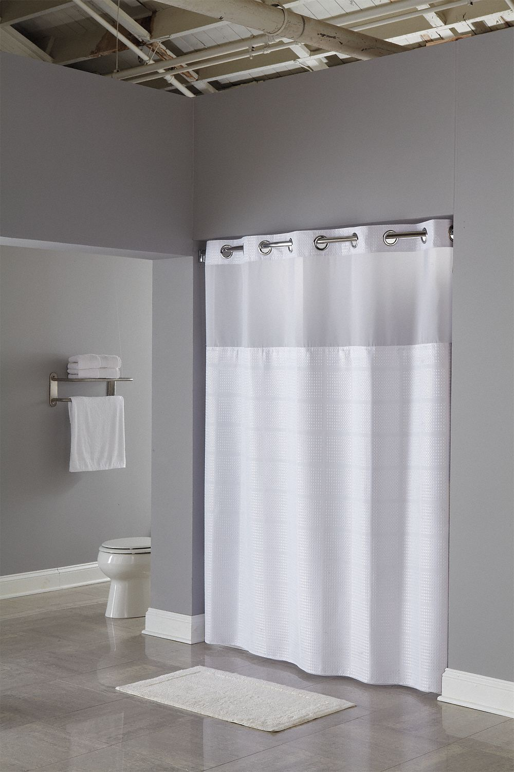 Shower Curtain,  71 in Width,  RePET,  White,  Hookless