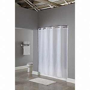 "74""H x 71""W PEVA Shower Curtain, White, Hookless"