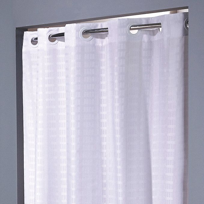 Shower Curtain,  42 in Width,  Polyester,  White,  Hookless