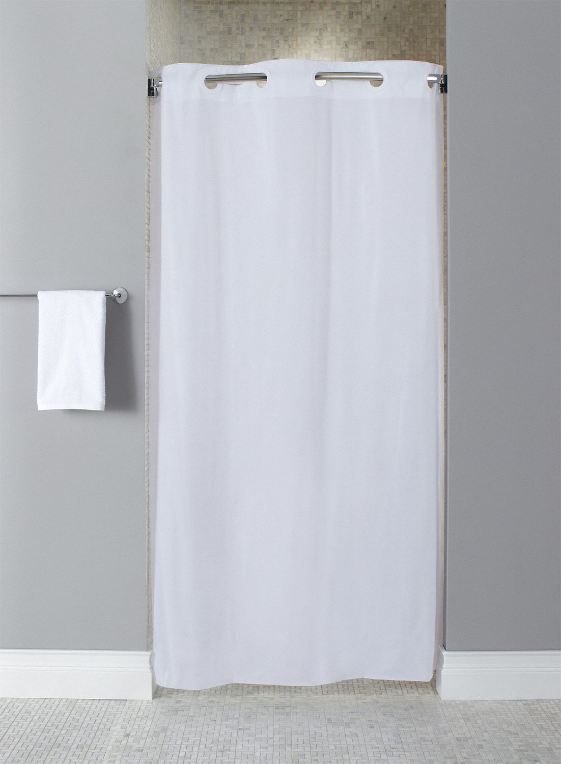 Hookless shower curtain with snap liner - Hookless Shower Curtain White 74 In L 42 In W 46y263 Hbh10ga014274 Grainger