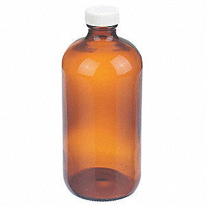Narrow Mouth Round Bottle, Glass, Amber, 12 PK