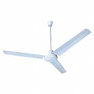 "3-Blade Ceiling Fan, 120V, 10 to 40 ft. Mounting Height, 1-Speed, 56"" Blade Dia."