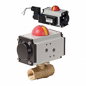 "1-1/2"" Spring Return Pneumatic Actuated Ball Valve, 2-Piece"
