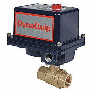 "Brass Electronic Actuated Ball Valve, 1"" Pipe Size, 120VAC Voltage"